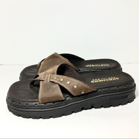 Sketchers Brown Leather Slip On Sandals